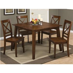 "Square Table and 4 Chair Set (with ""X"" Back Chairs)"