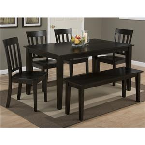 Jofran Simplicity Rectangle Dining Table Set with Bench