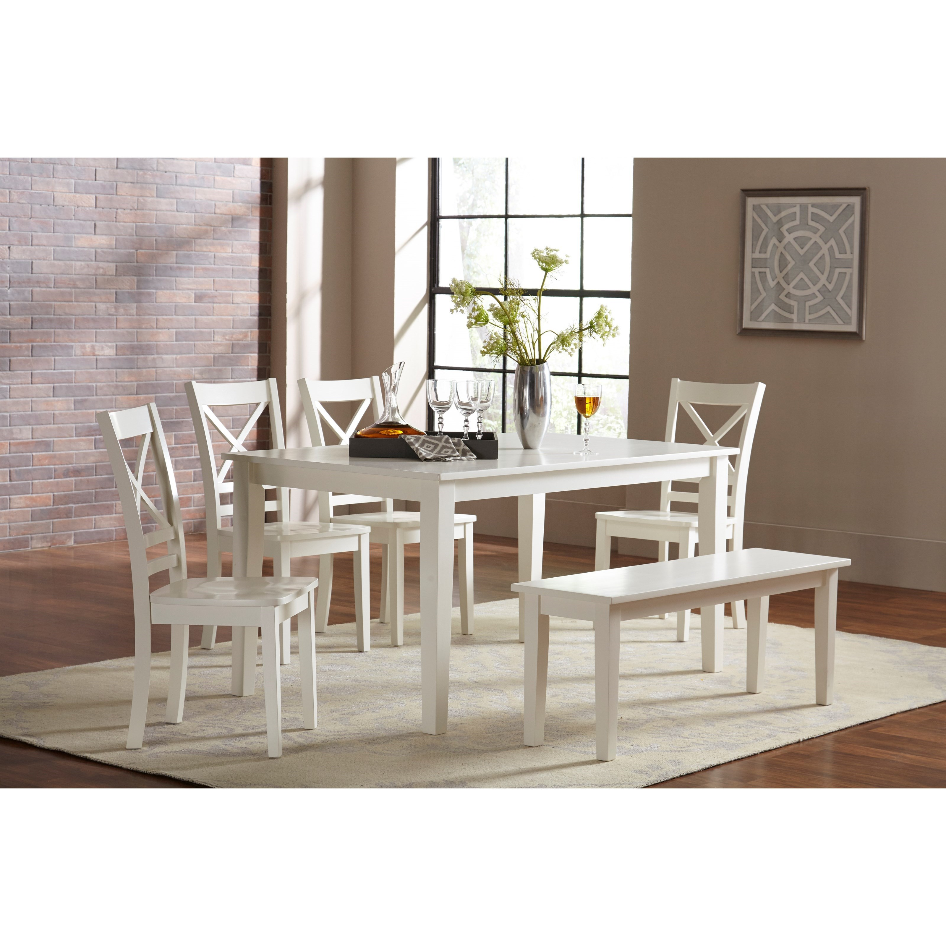 Simplicity Dining Table and Chair/Bench Set by Jofran at Stuckey Furniture