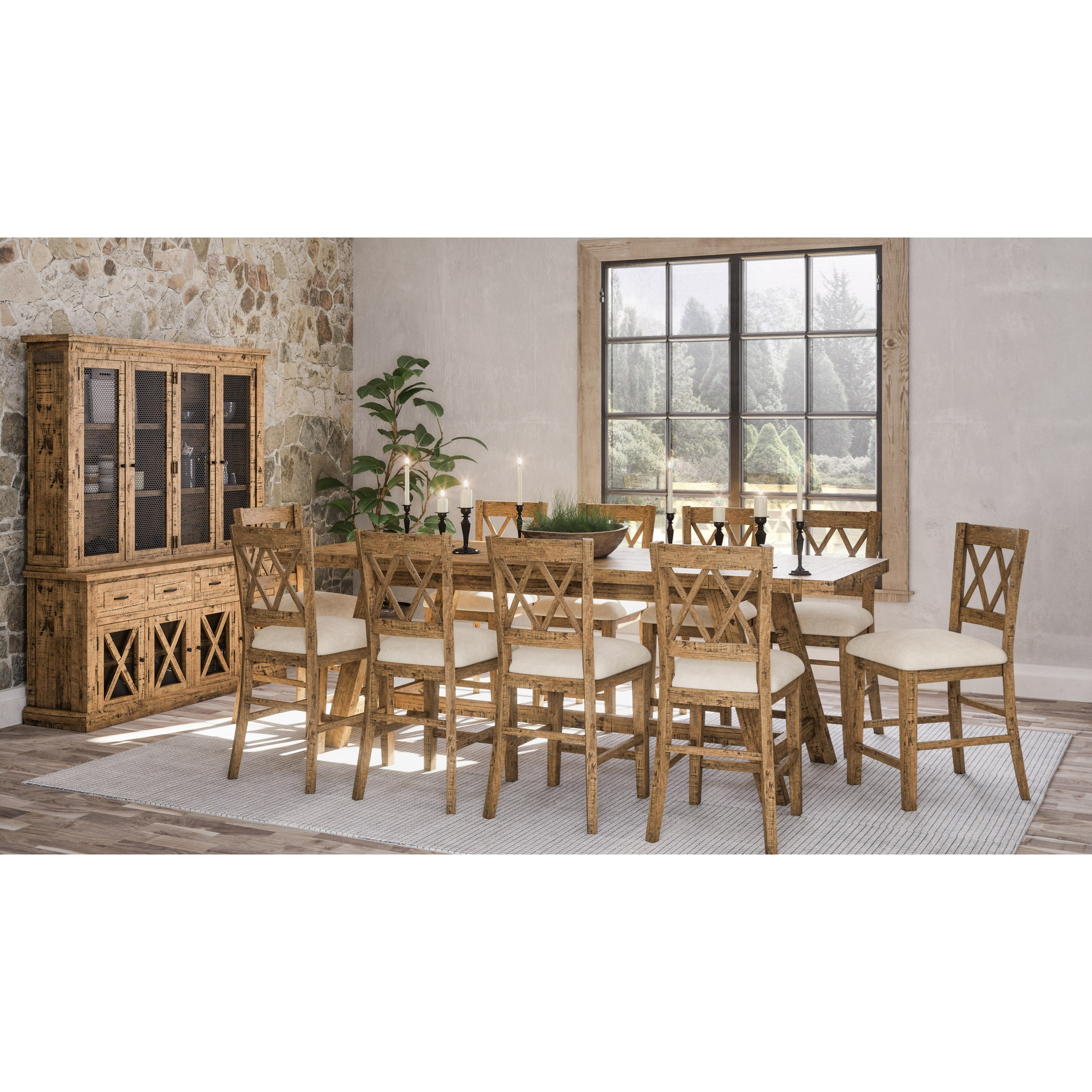 Telluride  11-Piece Counter Height Table and Chair Set by Jofran at Jofran