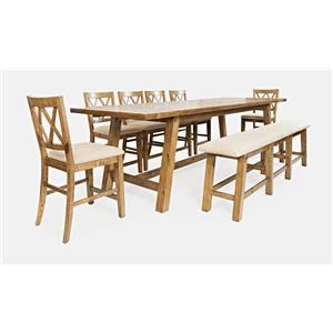 Trestle Table with Bench and 6 Stools