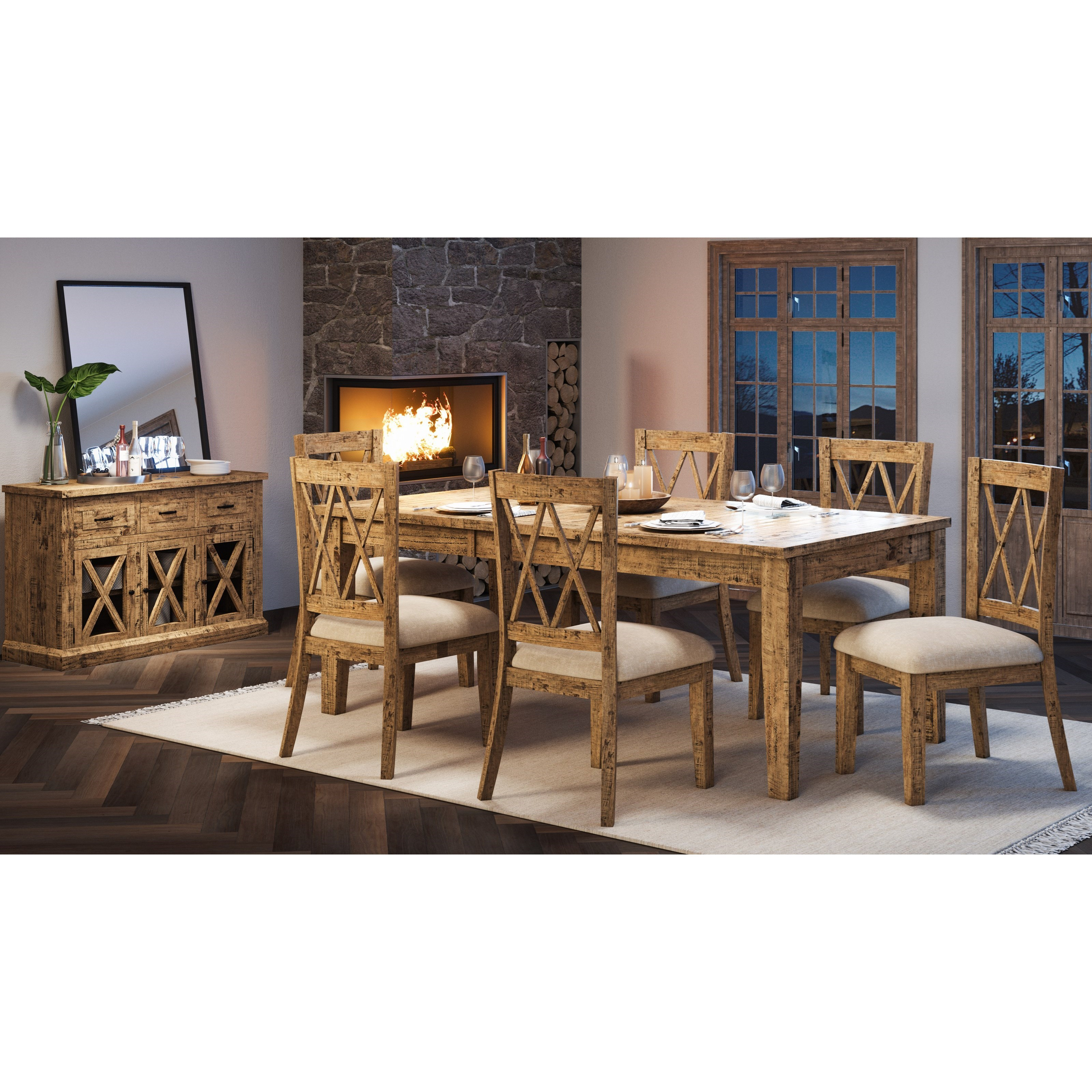 Telluride  7-Piece Table and Chair Set by Jofran at Jofran