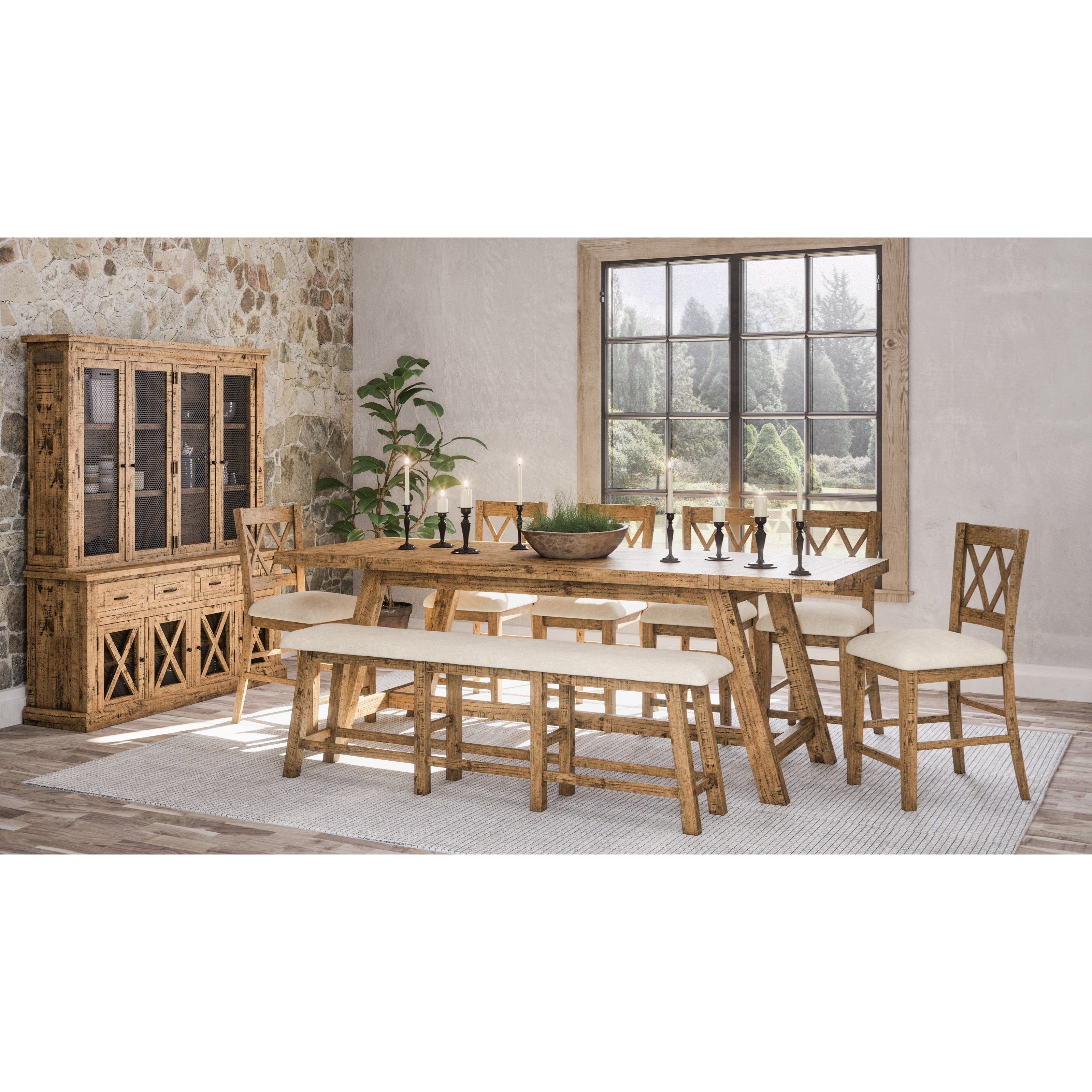 Telluride  Table and Chair Set with Bench by Jofran at Godby Home Furnishings