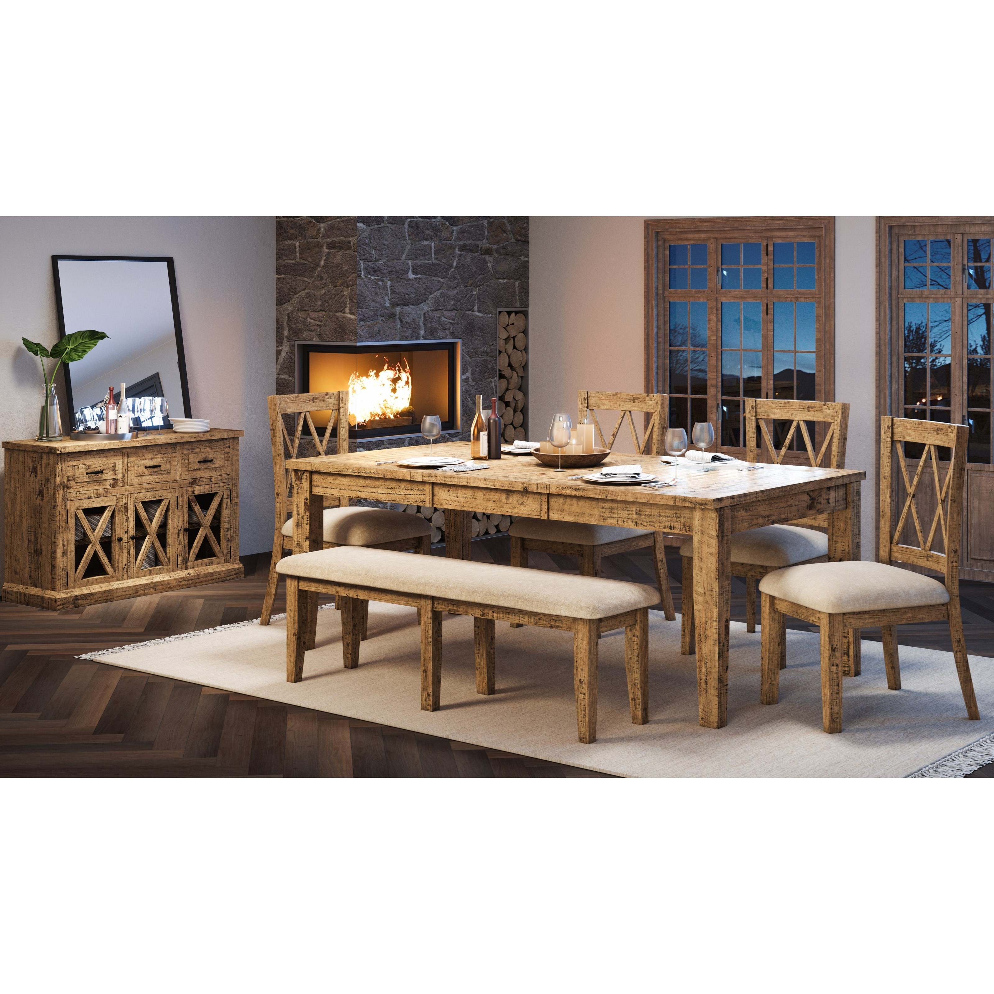 Telluride  6-Piece Table and Chair Set with Bench by Jofran at Beck's Furniture
