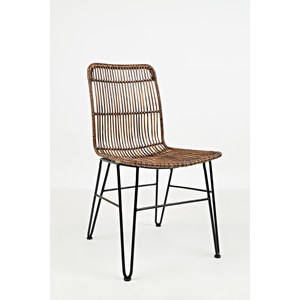 Wire and Rattan Dining Chair