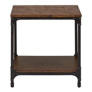 Square End Table with Steel and Pine Construction