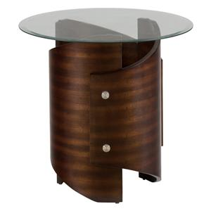 Jofran Waterville Walnut Glass Top End Table