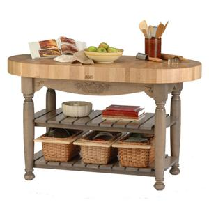 Butcher Block Wood Top Country Style Kitchen Island