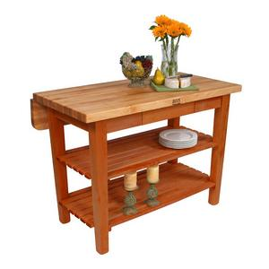 Kitchen Island with Butcher Block Top and Drop Leaf