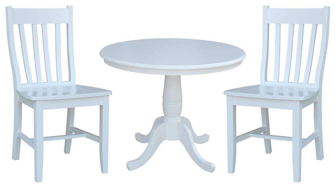 """Dining Essentials 36"""" Table and 2 Cafe Chairs by John Thomas at Johnny Janosik"""