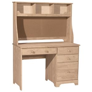 John Thomas SELECT Home Office 4-Drawer Desk Hutch with Corkboard
