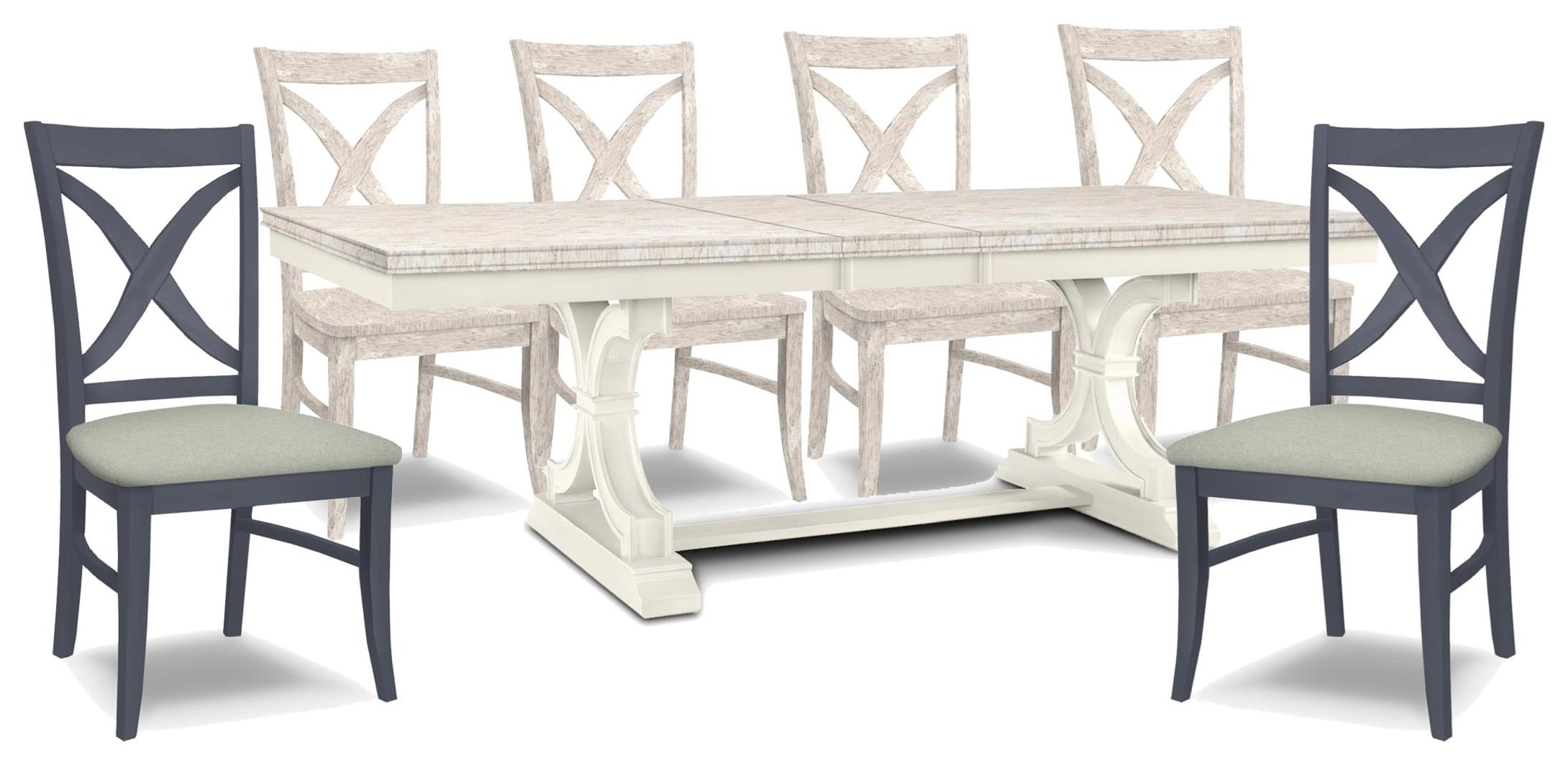 SELECT Dining Table, 4 Chairs, 2 Upholsered Chair by John Thomas at Johnny Janosik