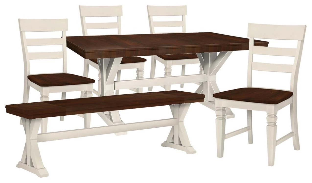 SELECT Dining Trestle Table, 4 Chairs, Bench by John Thomas at Johnny Janosik