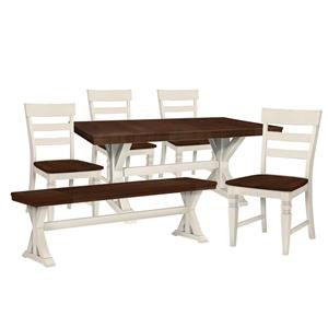 Trestle Table, 4 Chairs, Bench
