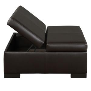 Casual Leather Storage Ottoman with Exposed Wood Block Feet