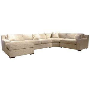 Casual Sectional Sofa with Track Arms