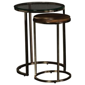 Contemporary Nesting End Tables with Glass and Veneer Tops