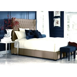 California King Upholstered Bed with Footboard Storage