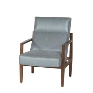 Bonded Leather Accent Chair with Exposed Wood Frame