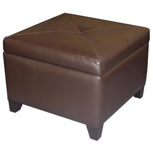 Jonathan Louis Accentuates Miles Leather Storage Ottoman
