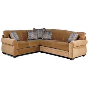 2-Piece Stationary Sectional with Rolled Arms