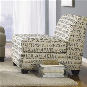 Contemporary Upholstered Armless Chair with Wood Legs