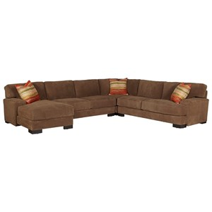 Casual Sectional Sofa with Low Track Arms