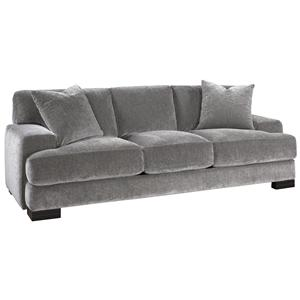 Modern Sofa with Low Track Arms and Exposed Wood Feet