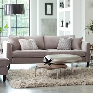 Modern Estate Sofa with Tufted Seat and Toss Pillows