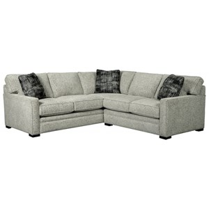 Contemporary L-Shaped Sectional Sofa with Track Arms