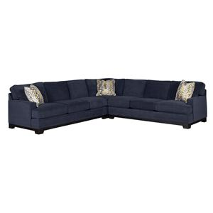 Contemporary 3-Piece Sectional Sofa with Track Arms