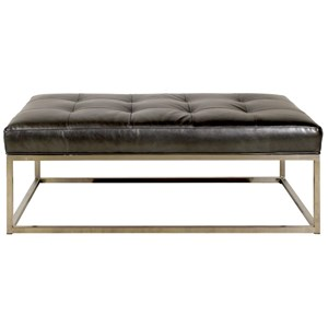 Rectangular Ottoman with Metal Base and Leather Cushion