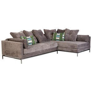 Contemporary Sectional Sofa with Metal Base