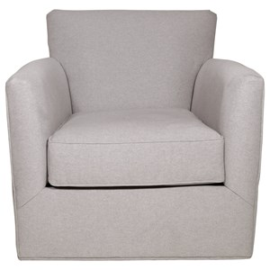 Casual Accent Swivel Chair with Tapered Arms