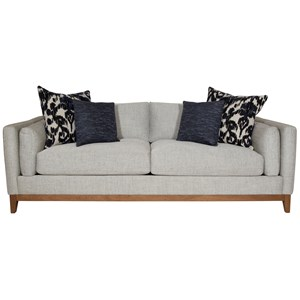 Modern Estate Sofa with Bolster Arm Pillows and Exposed Wood Base Rail