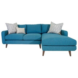 Mid-Century Modern Sectional Sofa with Splayed Legs and Chaise