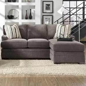 Contemporary Sofa with Chaise and Track Arms