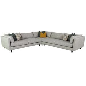 Contemporary 3-Piece Sectional with Arm Pillows