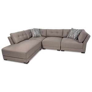 4PC Sectional w/ Button Tufted Back Cushions and LAF Bumper Chaise