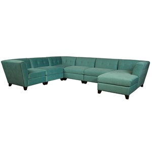 Contemporary Sectional Sofa with Right Arm Facing Chaise and Tufted Back