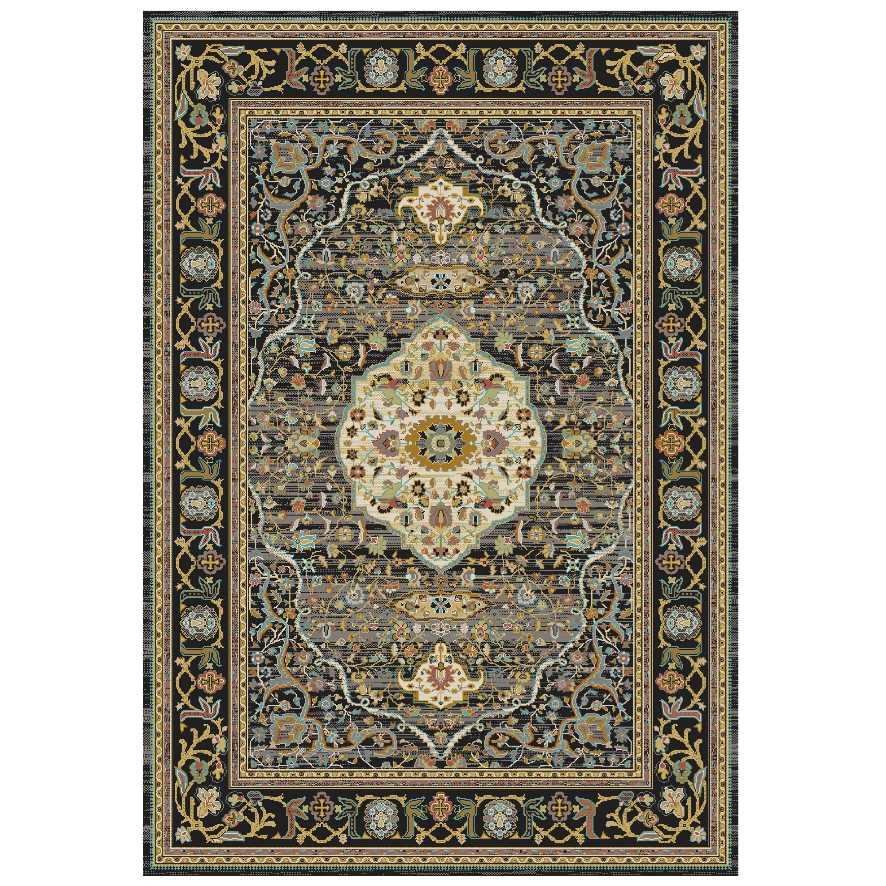 Spice Market 5'3x7'10 Petra Charcoal Rug by Karastan Rugs at Darvin Furniture