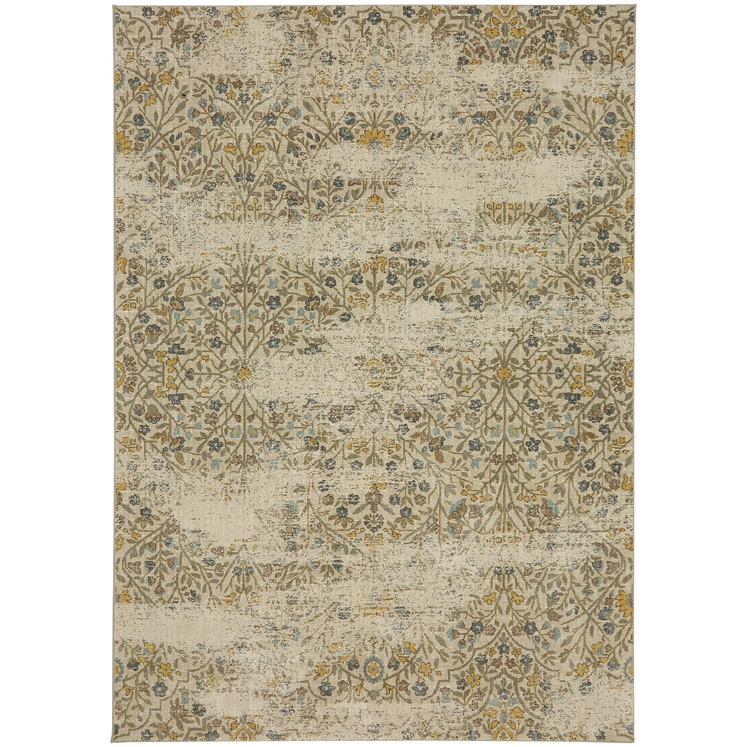 """Touchstone 5' 3""""x7' 10"""" Rectangle Floral Area Rug by Karastan Rugs at Darvin Furniture"""