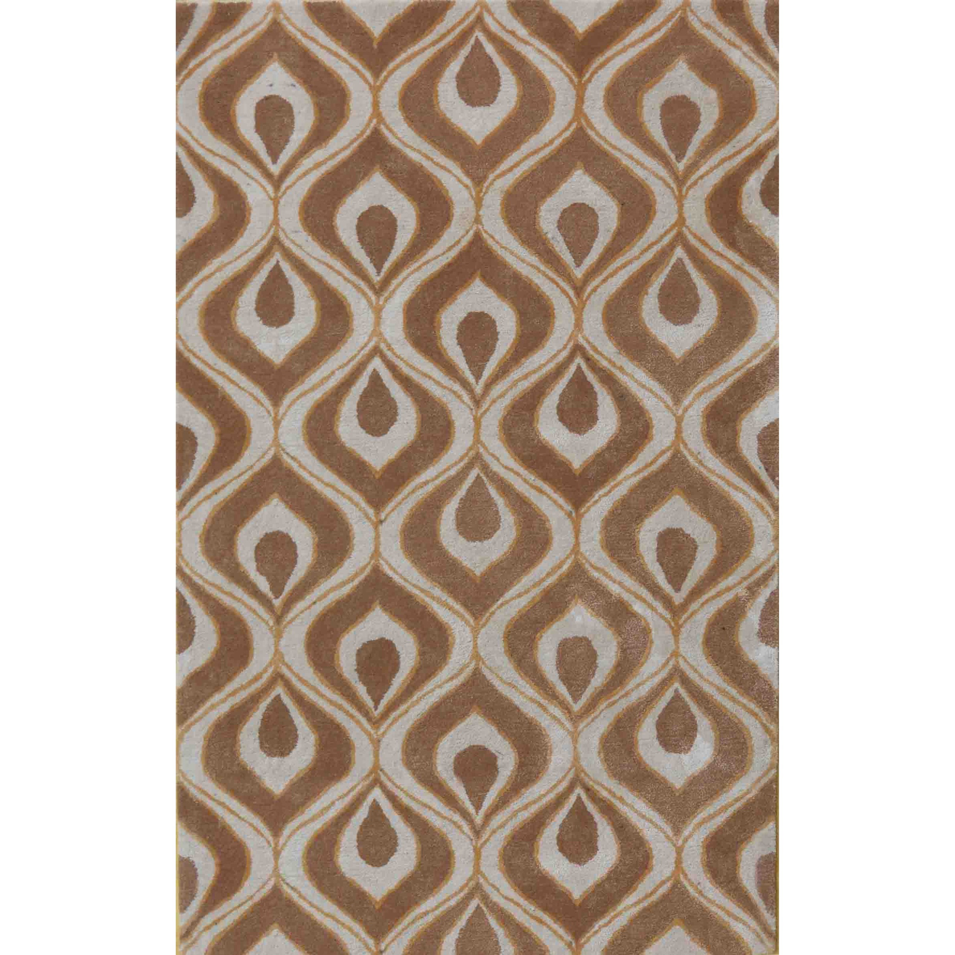 """Bob Mackie Home 2'6"""" X 8' Beige Eye Of The Peacock Area Rug by Kas at Zak's Home"""