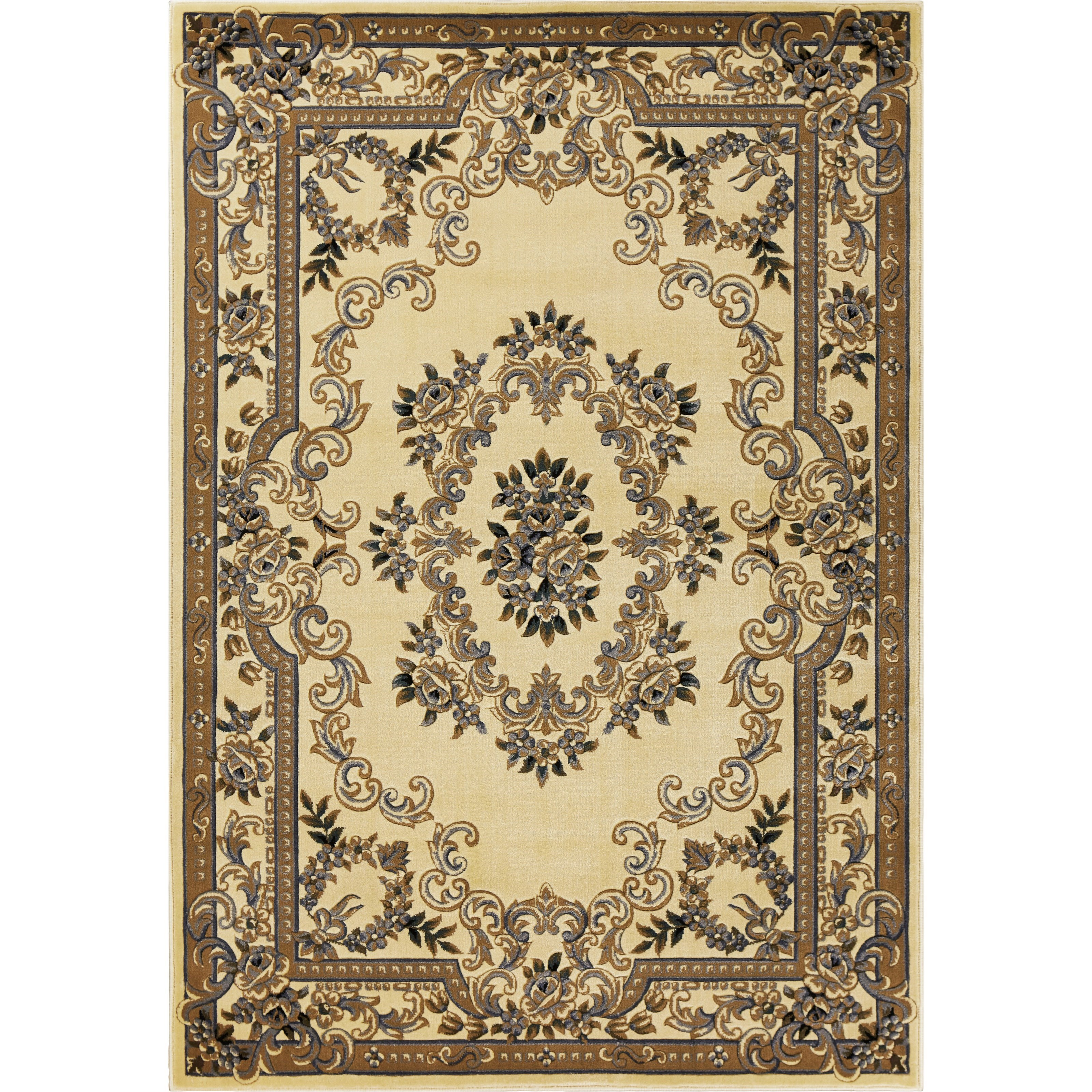 """Corinthian 2'3"""" x 3'3"""" Ivory/Blue Aubusson Rug by Kas at Zak's Home"""