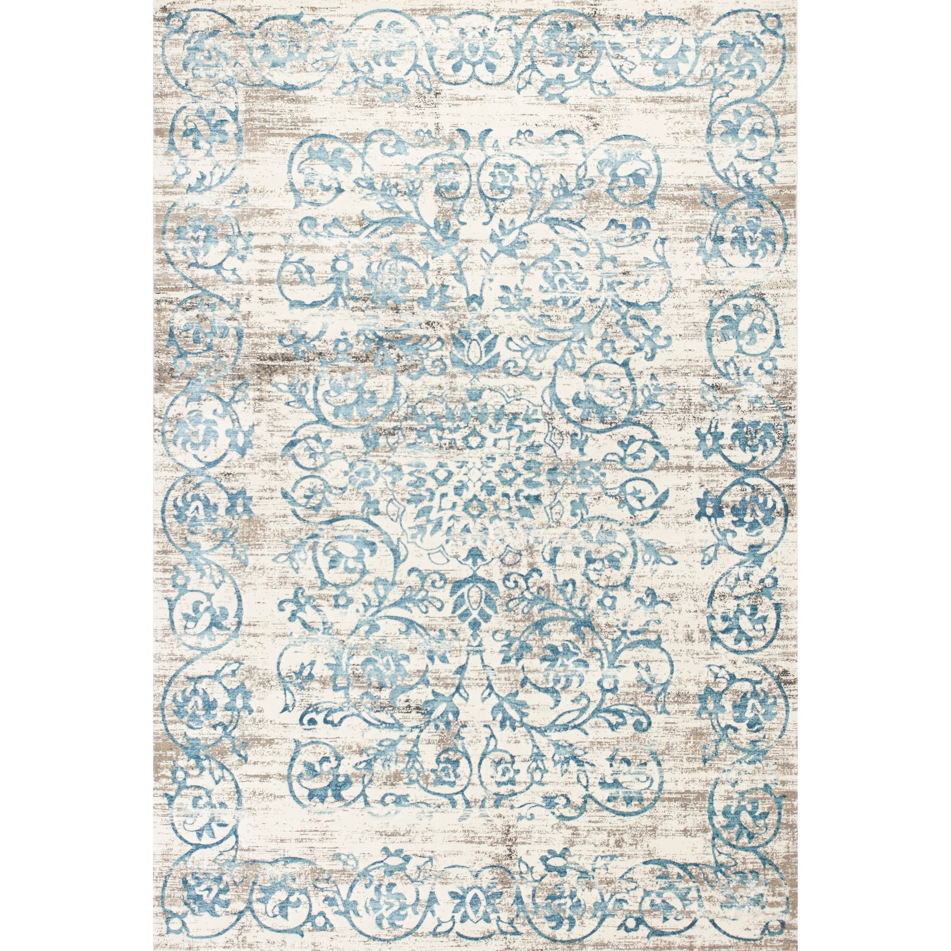 """Crete 3'3"""" X 4'7"""" Ivory/Blue Courtyard Area Rug by Kas at Zak's Home"""