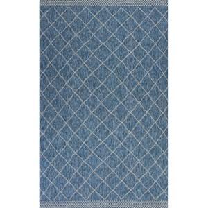 "4'11"" X 3'3"" Blue Rustico Area Rug"