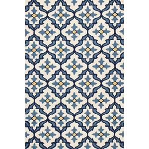 "5' X 7'6"" Ivory/Blue Mosaic Area Rug"