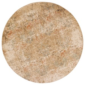 """7'7"""" X 7'7"""" Champagne Damask Area Rug"""