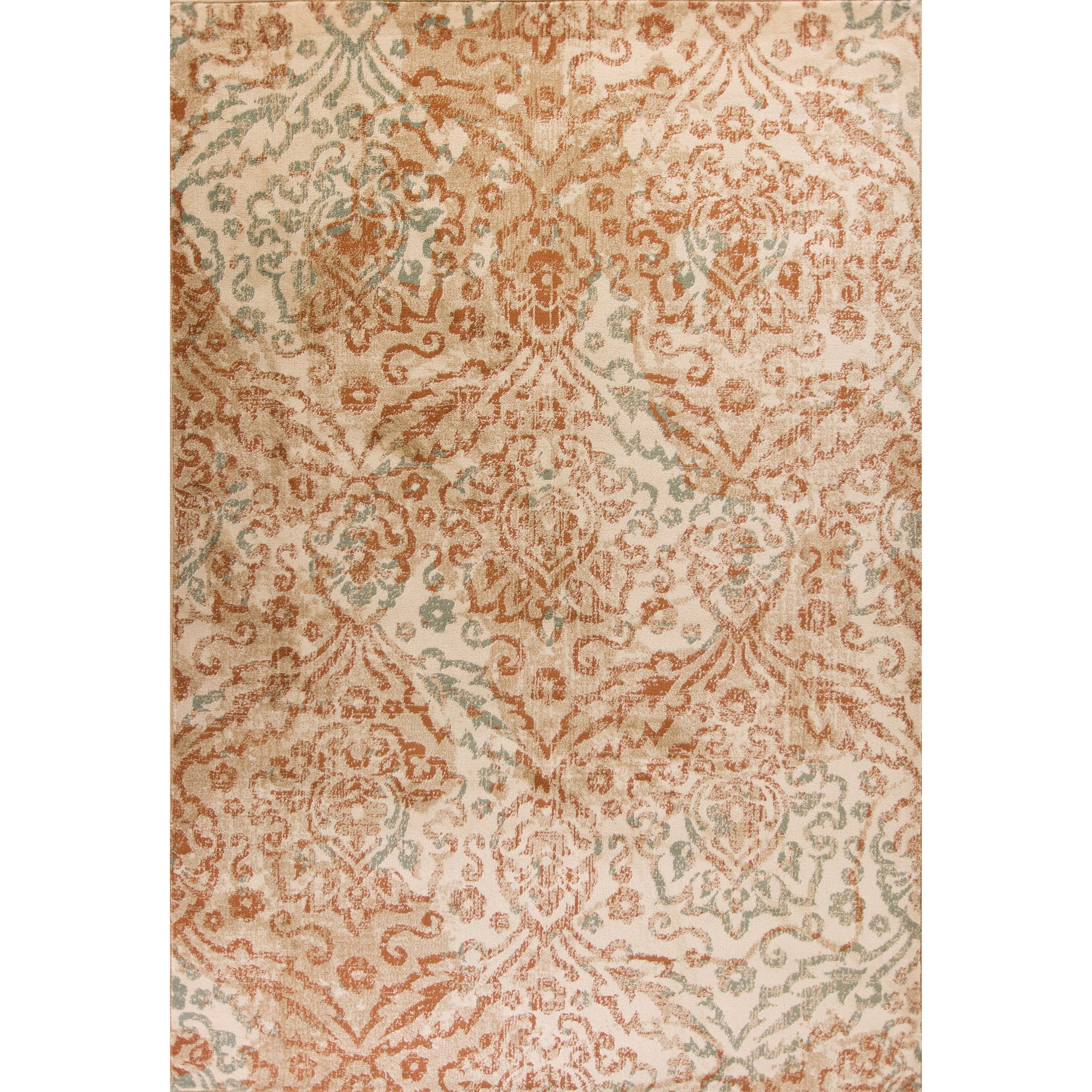 """Heritage 2'2"""" X 7'11"""" Champagne Damask Area Rug by Kas at Zak's Home"""