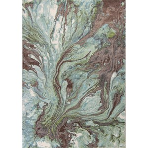 "7'7"" X 5'3"" Seafoam Watercolors Area Rug"